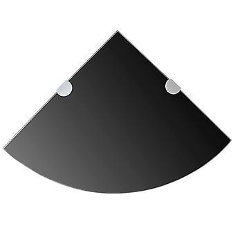 رف الزاوية vidaXL مع أقواس مطلية بالكروم زجاج أسود 35 × 35 سم