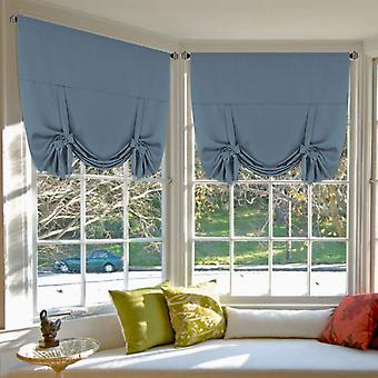 Copy of 2x roman curtains tie up blockout curtains for small window blackout curtains rod pocket window draperies / shade, stone blue