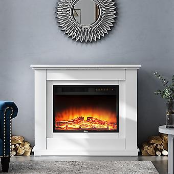 Suite cheminée électrique avec manteau blanc