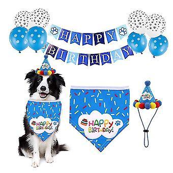 Huisdier verjaardagsfeest decoratie set verjaardag hoed, driehoek sjaal (Blauw)
