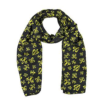 Black Satin Scarf with Gold Fleur de Lis Designs