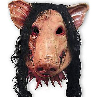Scary Latex Mask With Hair Pig Head-halloween Cosplay Mask