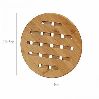 2 Pieces Of Thick Bamboo Insulation Pads For Household Use For Dining Table (large Size 19.5cm)