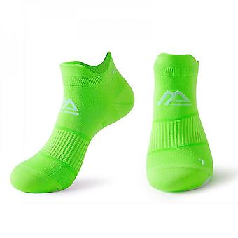 Green 2 pack men's cushioned low-cut anti blister running and cycling socks mz904