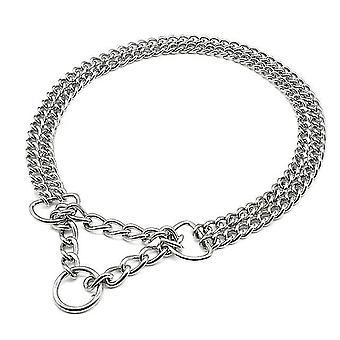 Haustier Halsbänder Geschirre Hundekette Haustier Choke Halsband Reihe Metallkette Edelstahl Slip Collar für große Hunde silber