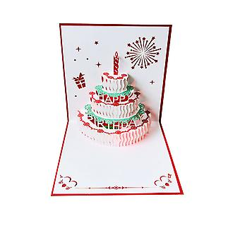 Dreidimensionale Geburtstagskarte 3D-Kuchen Kreativ Personalisierte High-End-Handarbeit Papierschnitzerei Business Segen Musik Kleine Karte Weihnachtsgeschenk Segen