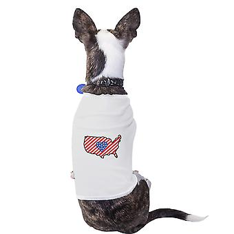 American Flag USA Map Cute 4th of July Decorative Small Pet Shirt