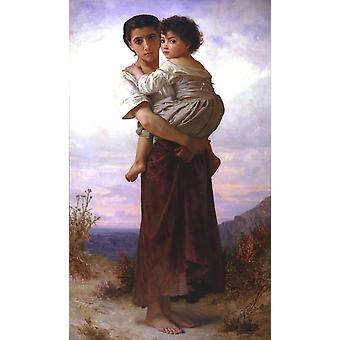 William Bouguereau - Young Gypsies (1879) Poster Print Giclee
