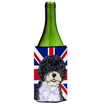 Portugués perro agua con bebida de botella de vino bandera británica Union Jack inglesa I