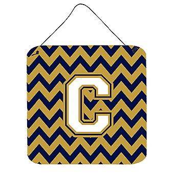Letter C Chevron Navy Blue and Gold Wall or Door Hanging Prints