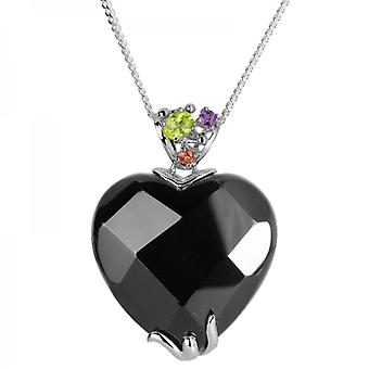 "Shipton and Co Ladies Shipton And Co Exclusive Silver And Onyx Pendant Including A 16"" Silver Chain TTL227ONMU"
