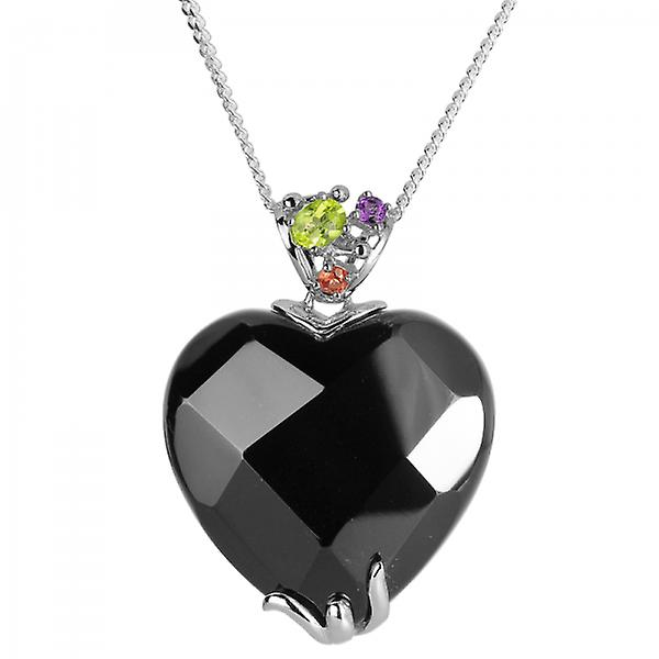 Shipton and Co Ladies Shipton And Co Exclusive Silver And Onyx Pendant Including A 16