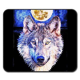Mond Wolf Tier Anti-Rutsch-Mauspad Pad 24 x 20 cm | Wellcoda