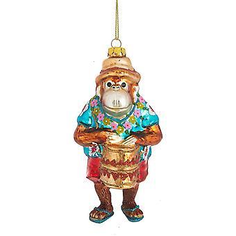 القرد مضحك لعب بونغو طبل عيد الميلاد عطلة زخرفة.
