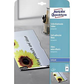 Avery-Zweckform 2500 Self-adhesive film A4 Inkjet printer Transparent 10 pc(s)