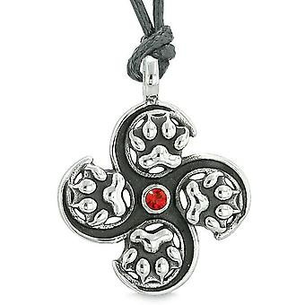 Supernatural Wild Wolf Paw All Forces of Nature Powers Amulet Red Crystal Pendant Necklace