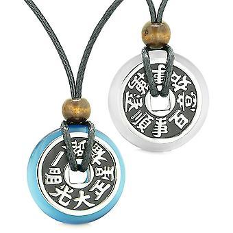 Amulettes grande Fortune réversible pièces Love Couples Yin Yang bleu ciel blanc Cats Eye colliers