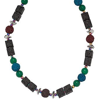 Gemstone necklace lava with agate and Hämatin stained 48 cm chain