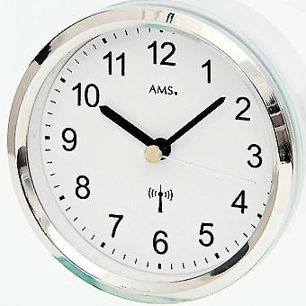 Analog moderne bord clock radio radio tabel ur med glas og aluminium
