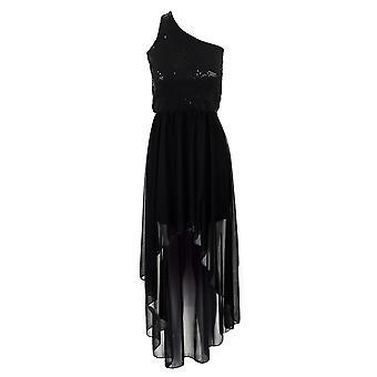 Дамы черный блестками одно плечо рыбий хвост высокий низкий шифон женщин платье