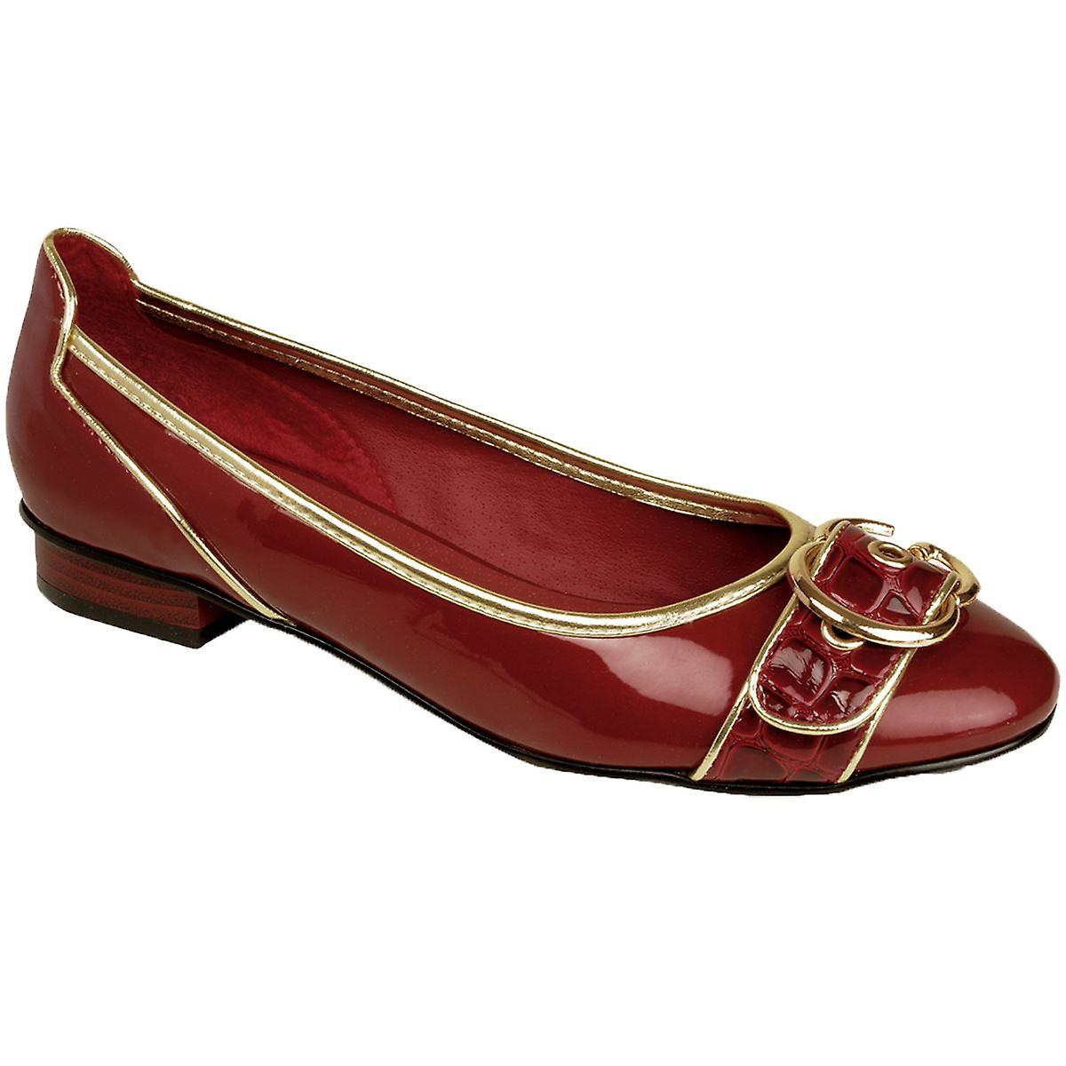 Ladies Patent Shiny Buckle Front Low Heel Silver Gold Trim Women's Flats Shoes