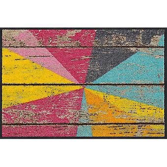 Salon Leeuw deurmat grafische hout 50 x 75 cm. wasbaar vuil-mat