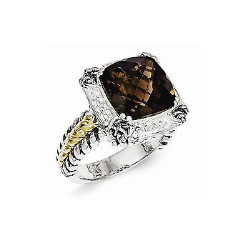 925 sterling zilveren antieke afwerking met 14k 6.80 Smokey Quartz Ring-Ring grootte: 6 tot en met 8