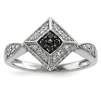 925 Sterling Silver Prong set Black and White Diamond Ring Jewelry Gifts for Women - Ring Size: 6 to 8