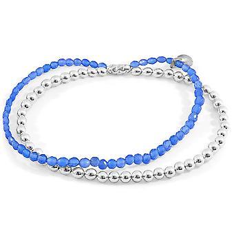 Anker und Crew Harmonie Achat Silber und Stein Armband - Silber/blau