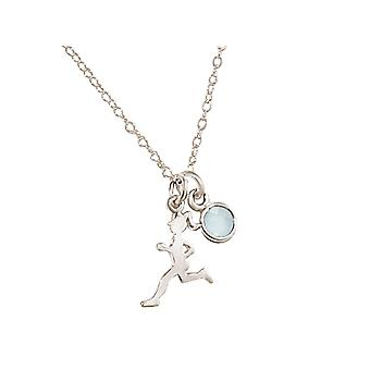 Gemshine halsband löpare 925 silver, guldpläterad, Rose Sports smycken chalcedony