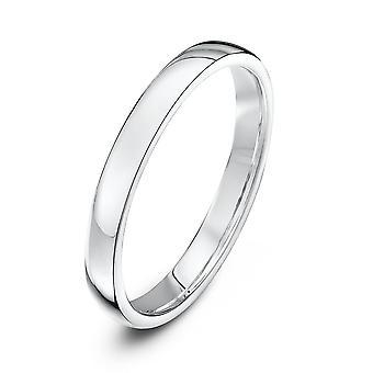 Star Wedding Rings 9ct White Gold Light Court Shape 2.5mm Wedding Ring