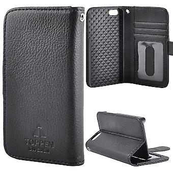 TOP left-handed wallet case for iPhone 5C, Black