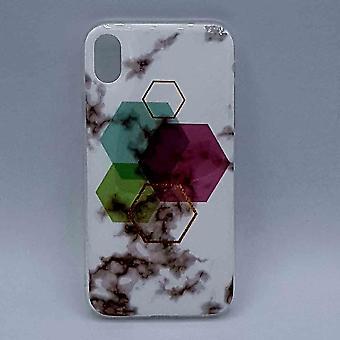 iPhone XR-etui-hvid marmor sekskant