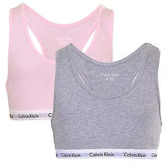 Calvin Klein Girls 2 Pack Modern Cotton Bralette, Pink/Grey, XX-Large