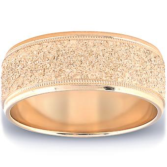 Mens Brushed Wedding Band Solid 10K Yellow Gold Ring 8mm Wide