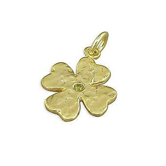 TOC Sterling Silver Goldtone Four Leaf Clover Pendant on 18 Inch Chain
