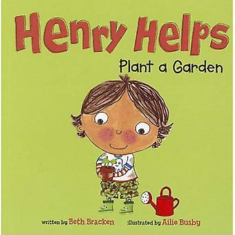 Henry ajuda a planta um jardim