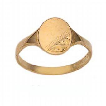 9ct Gold 7x6mm ladies engraved oval Signet Ring Size N