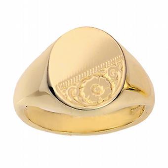 9ct arany 16x14mm tömör kézzel vésett ovális Signet Ring size W