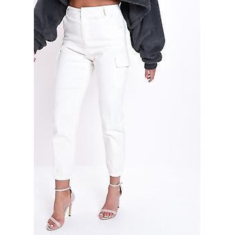 Wysokiej zwężone Utility Cargo Spodnie białe