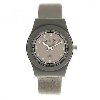 Crayo Dazzle Leather-Band Watch w/Date - Grey