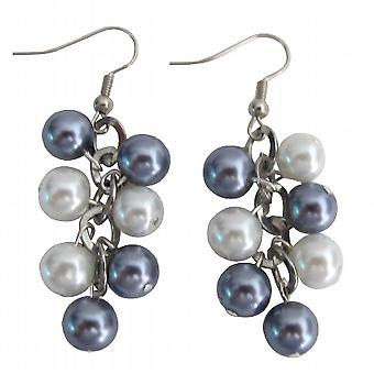 Cluster Bijoux Blanc Gris Perle Boucles d'oreilles de mariage Boucles d'oreilles
