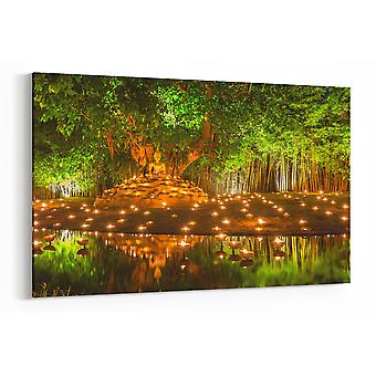Large A1 A2 A3 Panel Panoramic Canvas Wall Art Painting of Tranquil Buddha for your Living Room Canvas Prints - Pictures