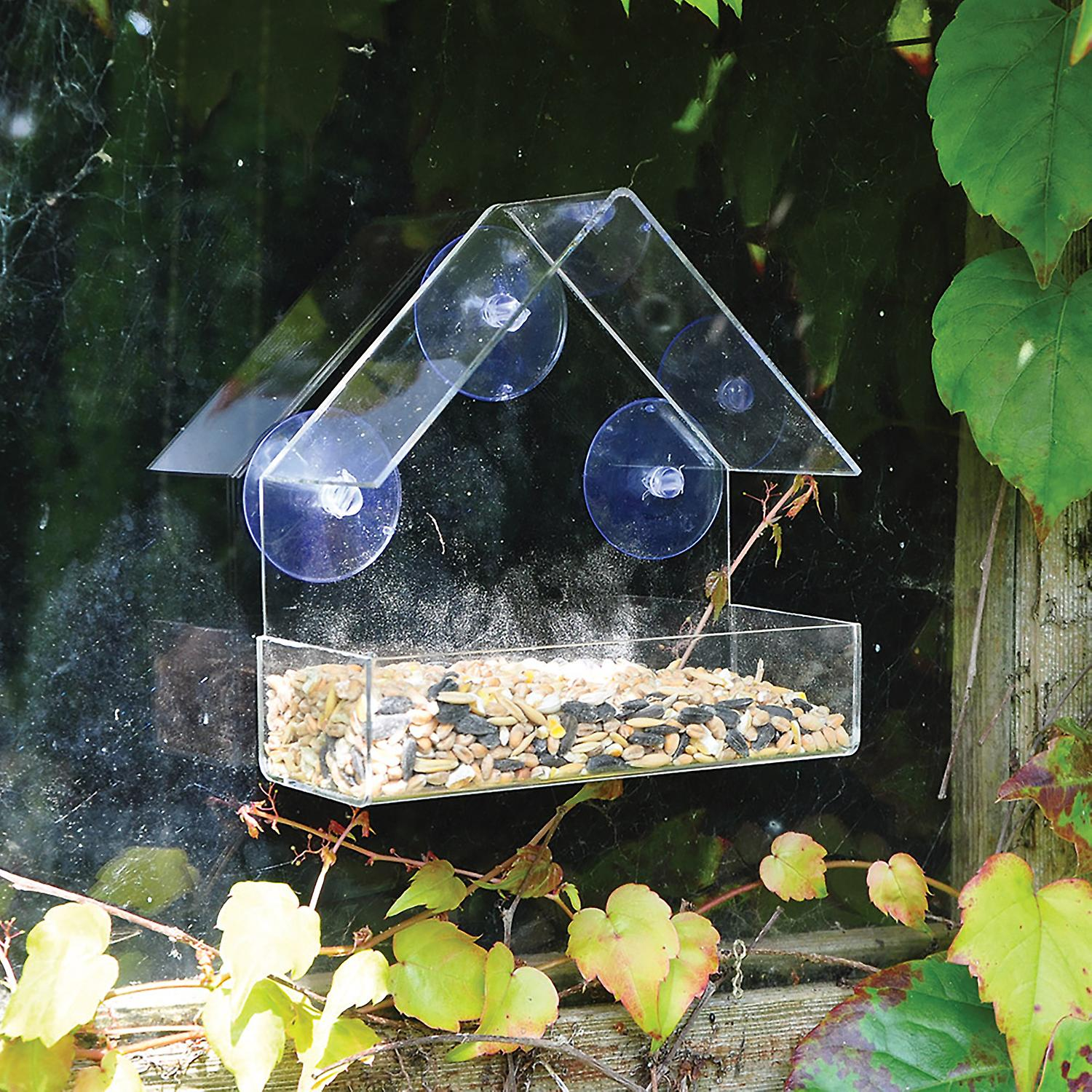 Natures Market BFWINDOW Clear Perspex Window Viewing Suction Cup Hanging Table Tray Perch Nut Peanut Seed Wild Bird Feeder
