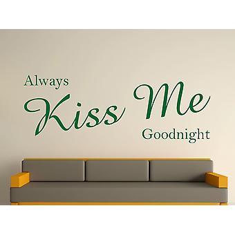 Always Kiss Me Goodnight Wall Art Sticker - Racing Green