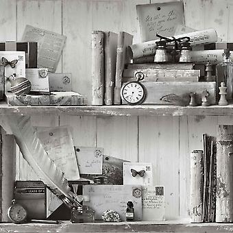 Eklektische schwarz weißen Tapete Oldschool rustikale Sammler Artikel Regale Vintage