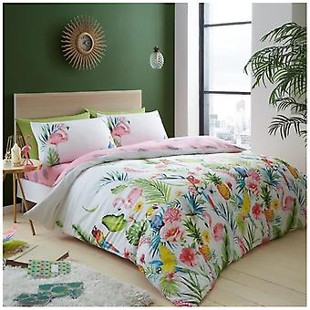 Leila White Floral Duvet Quilt Cover Reversible Bedding Set With Pillow Case