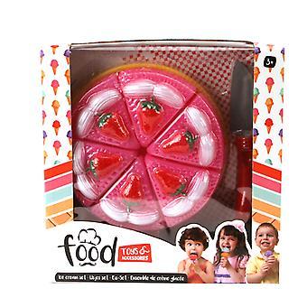 Spielzeug-Nahrungsmittelkuchen mit Kuchen Scheibe
