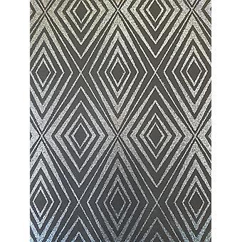 Diamant noir argent paillettes géométriques fond d'écran Shimmer éclat coller mur P + S