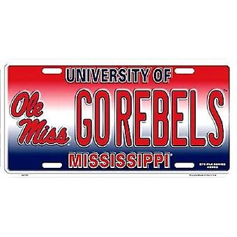 Plaque d'immatriculation Ole Miss Rebels NCAA «Go Rebels»